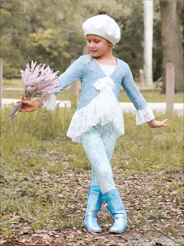 Girls Preppy Tweed Ruffled Lace Front Tie Jacket & Lace Leggings Set - Girls Spring Dressy Set