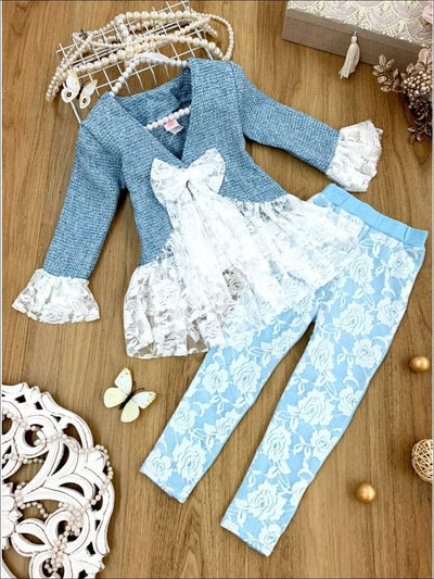 Girls Preppy Tweed Ruffled Lace Front Tie Jacket & Lace Leggings Set - Blue / 2T/3T - Girls Spring Dressy Set