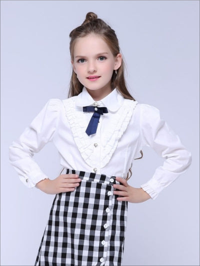 Girls Preppy V-Shape Ruffle Trim Bow Collar Long Sleeve Blouse - Girls Fall Casual Tops