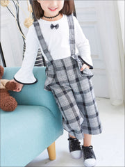 Girls Preppy White Bell Sleeve Blouse & Plaid Culotte Pants Set - Girls Fall Casual Set