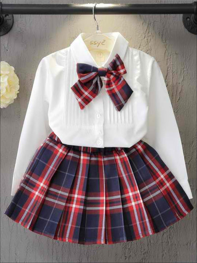 Girls Preppy White Button Up Long Sleeve Blouse With Plaid Bow Tie & Matching Plaid Skirt Set - White / 3T - Girls Fall Dressy Set