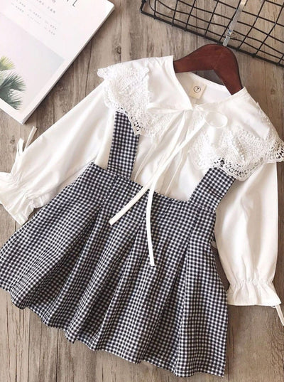 Girls Preppy White Lace Applique Bowknot Collar Long Sleeve Blouse & Gingham Jumper Dress Set - White / 3T - Girls Fall Dressy Set