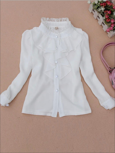 Girls Preppy White Lace Trim Ruffle Collar Chiffon Long Sleeve Blouse - White / 2T - Girls Fall Top