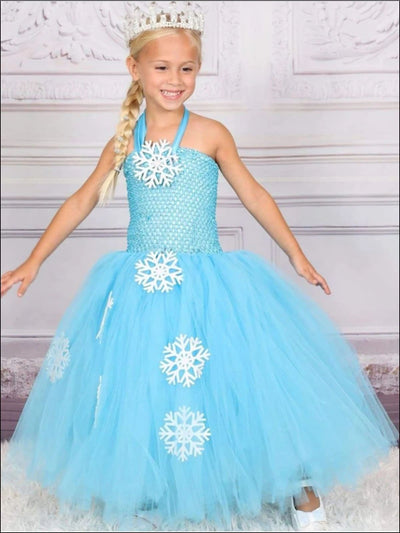 Girls Princes Elsa from Frozen Inspired Halloween Tutu Costume Dress - blue / 2T - Girls Halloween Costume