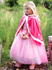 Girls Princess Aurora from Sleeping Beauty Velvet Cape with Hood - Girls Halloween Costume