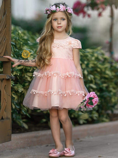 Girls Princess Cap Sleeve Floral Applique Holiday Dress - Pink / 2T - Girls Fall Dressy Dress