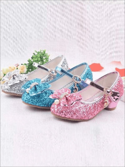 Girls Princess Glitter Mini Heel Flats (3 Color Options Size 9.5 Toddler - Size 5 Girls) - Girls Flats