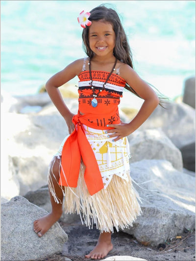 Girls Princess Moana Inspired Halloween Costume (Wig Included) - 3T / Orange/White - Girls Halloween Costume