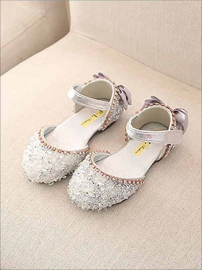 Girls Princess Sequined Bow Back Flats - Silver / 1 - Girls Flats