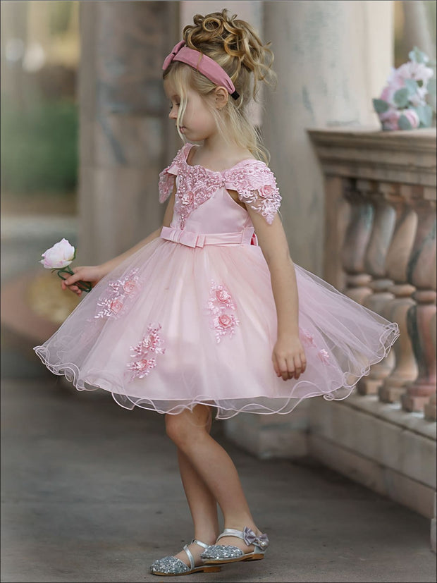 Girls Princess Sleeve Lace Flower Embellished Dress - Girls Spring Dressy Dress