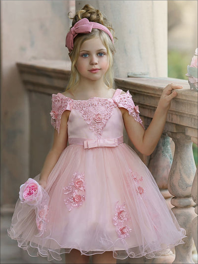 Girls Princess Sleeve Lace Flower Embellished Dress - Pink / 4T - Girls Spring Dressy Dress