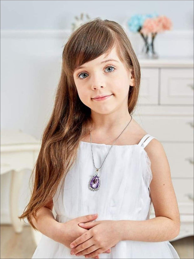 Girls Princess Sofia The First Inspired Crystal Teardrop Pendant Necklace - Girls Necklace