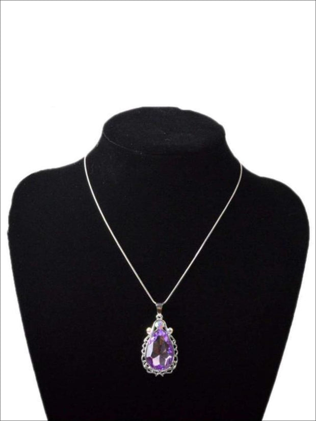 Girls Princess Sofia The First Inspired Crystal Teardrop Pendant Necklace - One Size - Girls Necklace