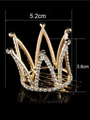 Girls Princess White Crystals Tiara Crown (Available in Gold and Silver) - Hair Accessories