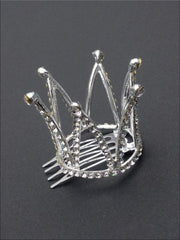 Girls Princess White Crystals Tiara Crown (Available in Gold and Silver) - Silver Plated - Hair Accessories