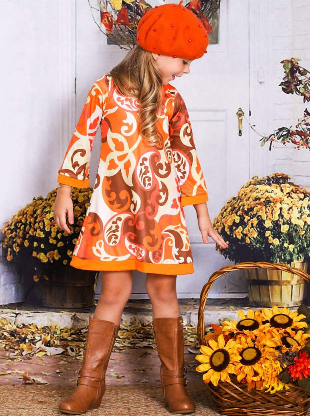 Girls Printed 3/4 Sleeve Twiggy Dress - Girls Fall Casual Dress