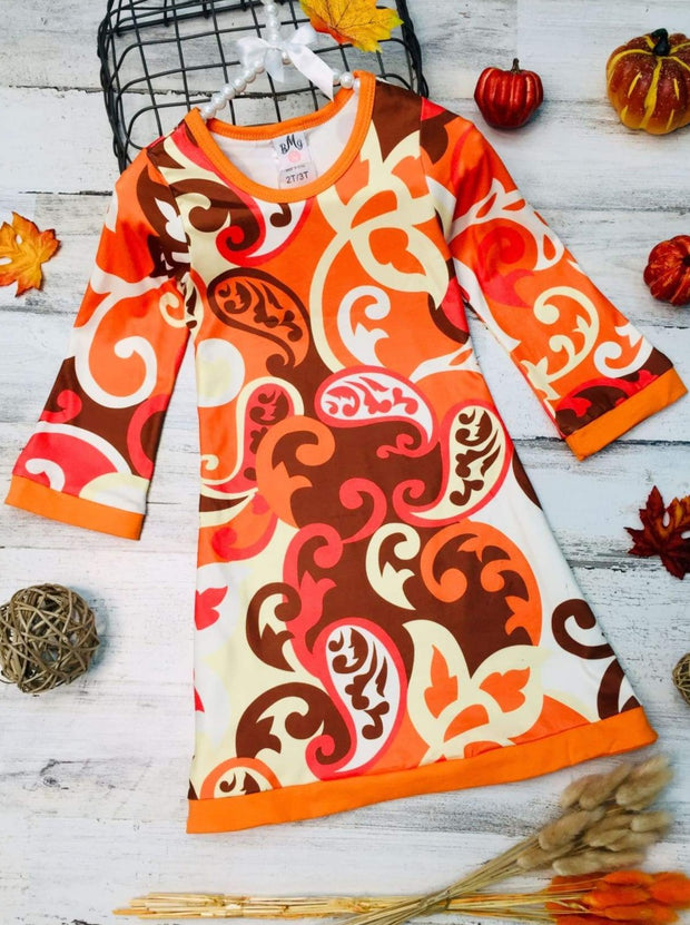 Girls Printed 3/4 Sleeve Twiggy Dress - Orange / 2T/3T - Girls Fall Casual Dress
