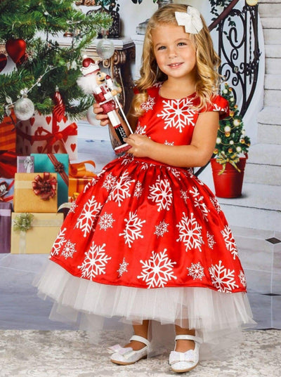Girls Printed Cap Sleeve Hi-Lo Tulle Holiday Dress - Red / 2T/3T - Girls Fall Dressy Dress