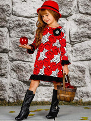 Girls Printed Flared Long Sleeve Ruffled Hem Dress - Girls Fall Casual Dress
