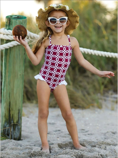 Girls Printed Flutter Sleeve Side Ruffle One Piece Swimsuit - Girls One Piece Swimsuit