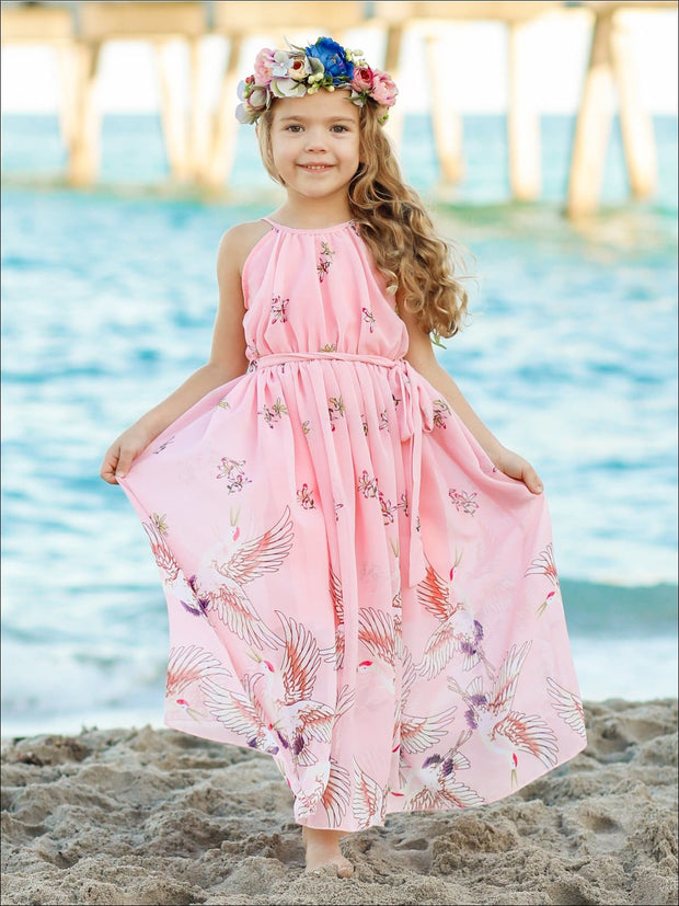 Girls Printed Halter Neck Maxi Dress With Sash - Girls Spring Dressy Dress