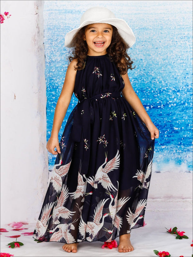 Girls Printed Halter Neck Maxi Dress With Sash - Blue / 2T/3T - Girls Spring Dressy Dress