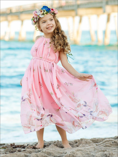 Girls Printed Halter Neck Maxi Dress With Sash - Pink / 2T/3T - Girls Spring Dressy Dress