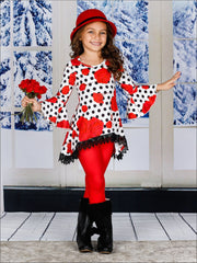 Girls Printed Hi-Lo Flared Long Sleeve Tunic & Matching Leggings Set - Girls Fall Casual Set