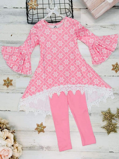 Girls Printed Hi-Lo Flared Long Sleeve Tunic & Matching Leggings Set - Pink / 2T/3T - Girls Fall Casual Set