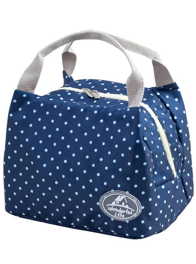 Girls Printed Insulated Canvas Lunch Box - Navy - Girls Lunchbox