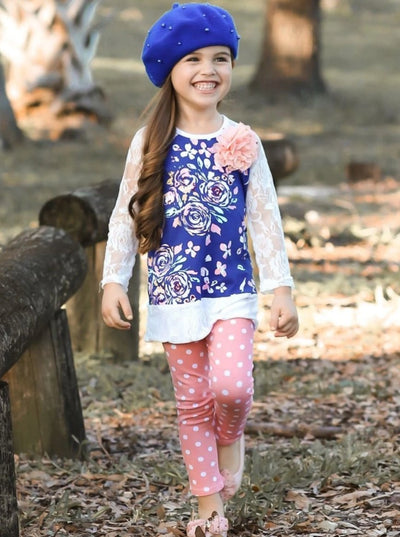 Girls Printed Lace Raglan Sleeve Tunic & Polka Dot Leggings Set - Girls Fall Casual Set