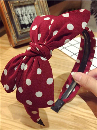 Girls Printed Large Bow Big Polka Dot Headband - Red - Girls Hair Accessories
