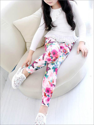 Girls Printed Leggings - Pink / 2T - Girls Leggings