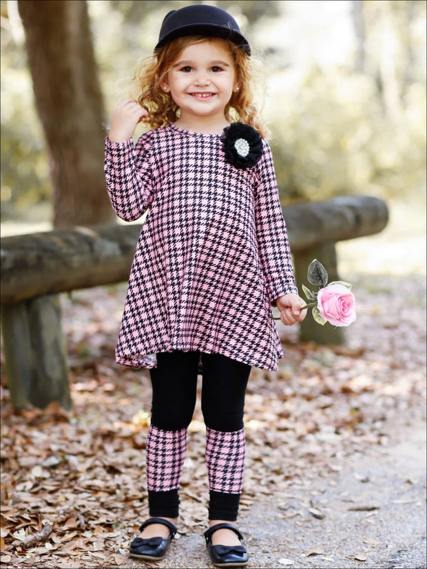 Girls Printed Long Sleeve Back Lace Insert Tunic & Matching Patch Leggings - Girls Fall Casual Set