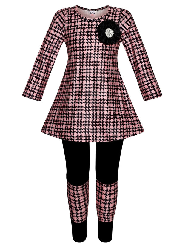 Girls Printed Long Sleeve Back Lace Insert Tunic & Matching Patch Leggings - Pink / 2T/3T - Girls Fall Casual Set