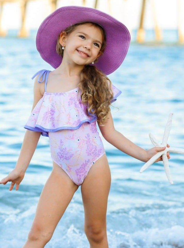 Girls Printed One Shoulder Ruffle One Piece Swimsuit - Girls One Piece Swimsuit