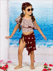 Girls Printed One Shoulder Ruffle Top & High Waist Bottom Two Piece Swimsuit - Girls Two Piece Swimsuit