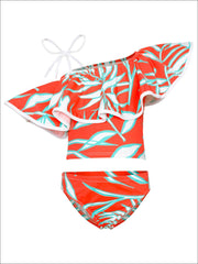 Girls Printed One Shoulder Ruffle Top & High Waist Bottom Two Piece Swimsuit - Orange / 2T/3T - Girls Two Piece Swimsuit