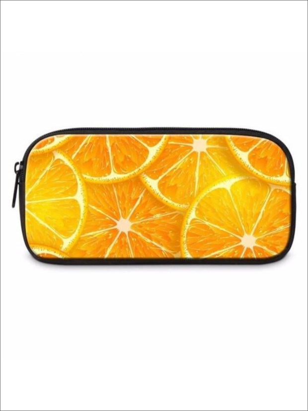 Girls Printed Pencil Case ( 6 color options) - Orange / Item Length: 22 Item Width: 11cm Item Height: 4.5cm - Pencil Case