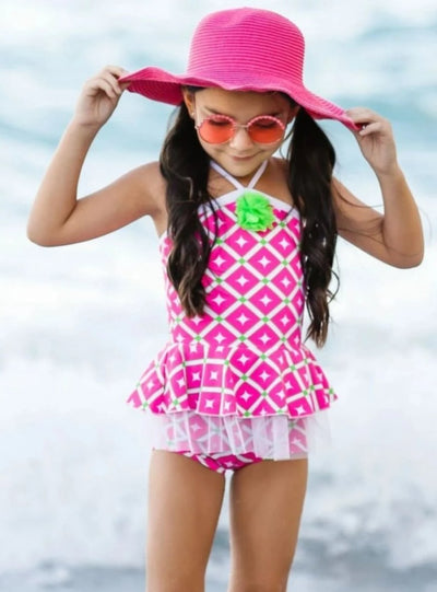 Girls Printed Trimmed Peplum Top & Shorts Bottom Two Piece Swimsuit - Girls Two Piece Swimsuit