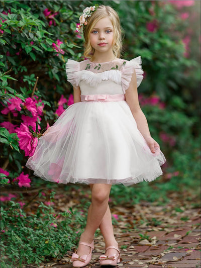 Girls Puffy Lace Flower Embroidered Dress - Girls Spring Dressy Dress