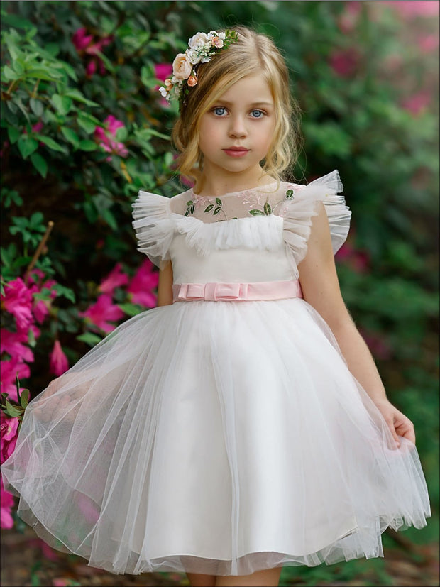 Girls Puffy Lace Flower Embroidered Dress - White / 3T/4T - Girls Spring Dressy Dress