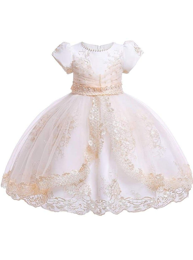 Girls Puffy Sleeve Embroidered Lace Applique Special Occasion Dress - Champagne / 3T - Girls Spring Dressy Dress
