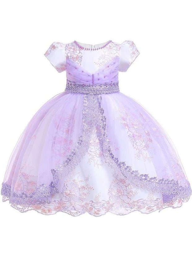 Girls Puffy Sleeve Embroidered Lace Applique Special Occasion Dress - Lavender / 3T - Girls Spring Dressy Dress