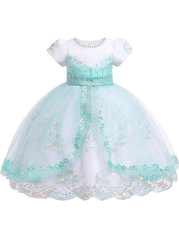 Girls Puffy Sleeve Embroidered Lace Applique Special Occasion Dress - Mint / 3T - Girls Spring Dressy Dress