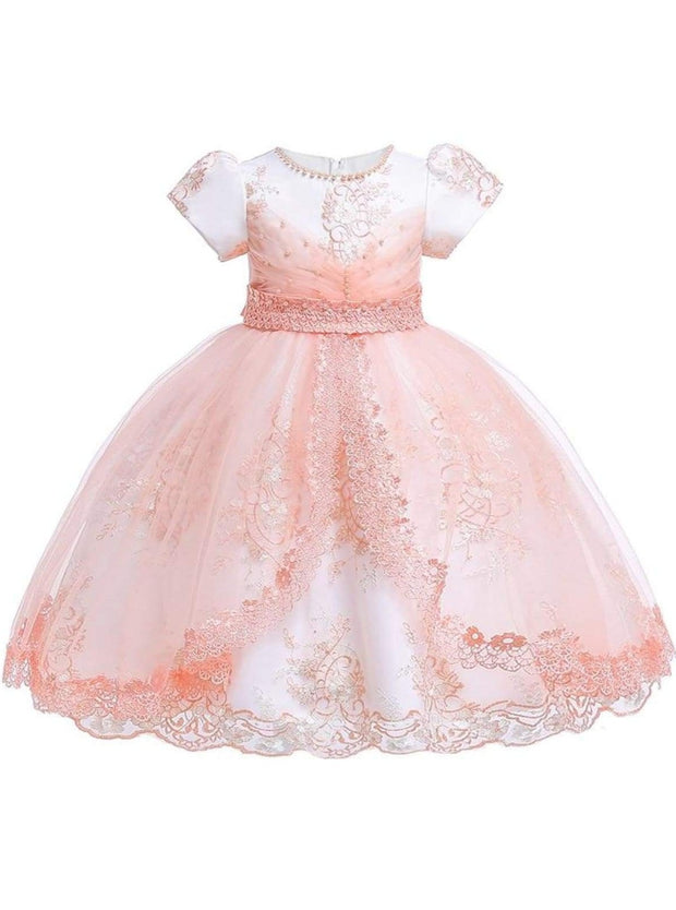 Girls Puffy Sleeve Embroidered Lace Applique Special Occasion Dress - Peach / 3T - Girls Spring Dressy Dress