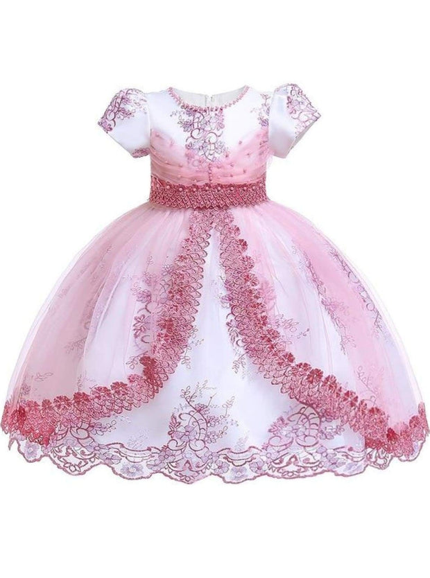 Girls Puffy Sleeve Embroidered Lace Applique Special Occasion Dress - Pink / 3T - Girls Spring Dressy Dress