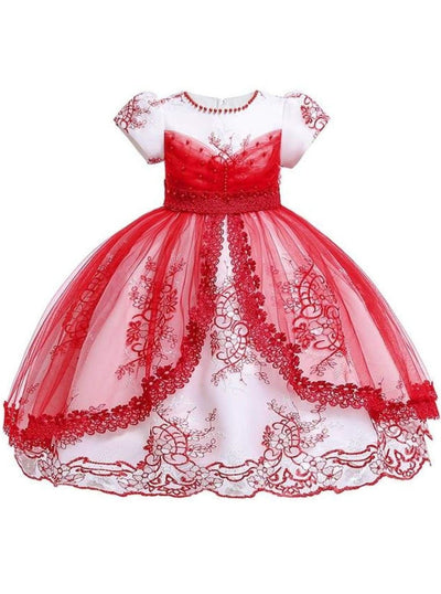 Girls Puffy Sleeve Embroidered Lace Applique Special Occasion Dress - Red / 3T - Girls Spring Dressy Dress