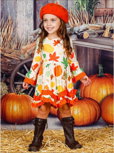 Girls Pumpkin Leaves Print 2-Tiered Crochet Long Flared Sleeve Dress - Girls Fall Casual Dress