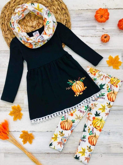 Girls Pumpkin Print Circle Trim Hem Long Sleeve Tunic Leggings & Scarf Set - Creme / 3T - Girls Fall Casual Set